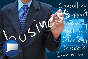 typical business services and concepts - with Connecticut icon