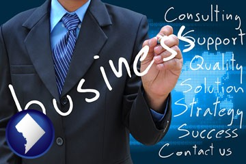 typical business services and concepts - with Washington, DC icon