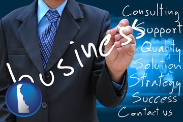 typical business services and concepts - with Delaware icon