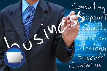 typical business services and concepts - with Iowa icon