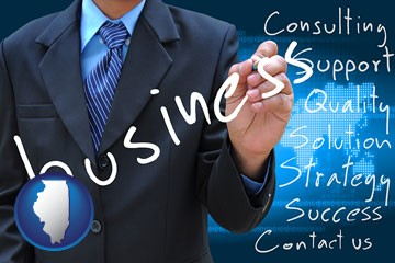 typical business services and concepts - with Illinois icon