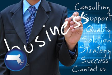 typical business services and concepts - with Massachusetts icon