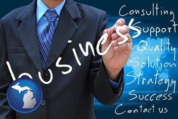 typical business services and concepts - with Michigan icon