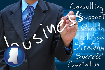 typical business services and concepts - with Mississippi icon