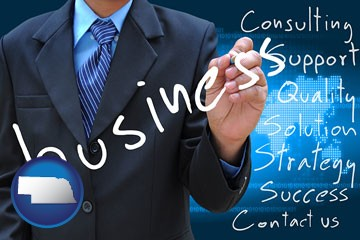 typical business services and concepts - with Nebraska icon