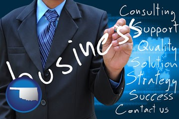 typical business services and concepts - with Oklahoma icon