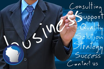 typical business services and concepts - with Wisconsin icon