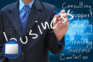 typical business services and concepts - with Wyoming icon