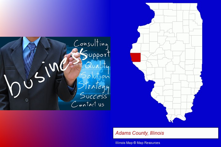 typical business services and concepts; Adams County, Illinois highlighted in red on a map