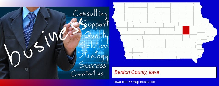 typical business services and concepts; Benton County, Iowa highlighted in red on a map