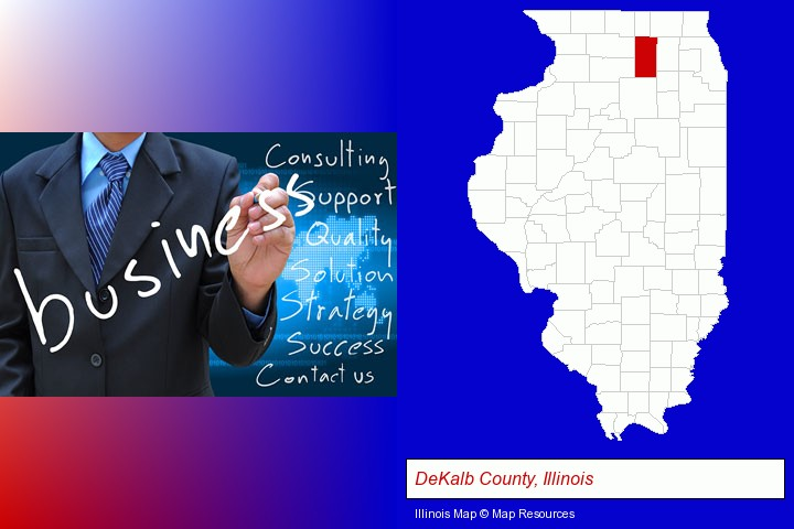 typical business services and concepts; DeKalb County, Illinois highlighted in red on a map