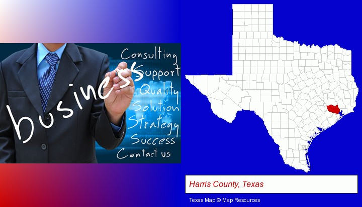 typical business services and concepts; Harris County, Texas highlighted in red on a map