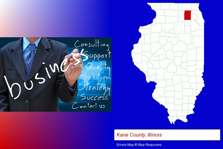 typical business services and concepts; Kane County, Illinois highlighted in red on a map