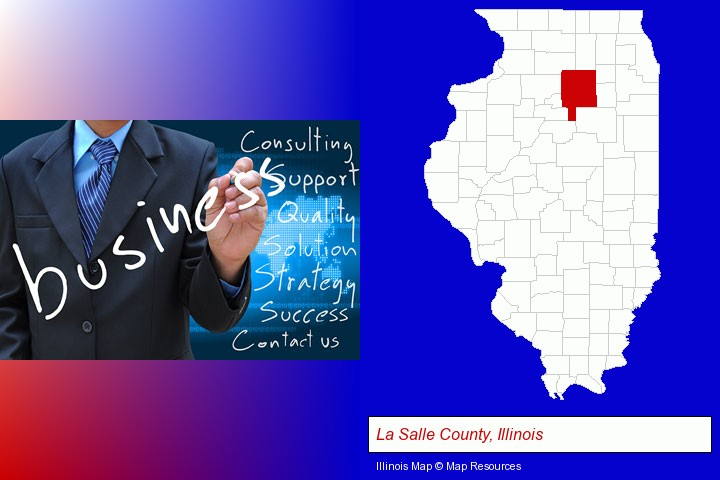 typical business services and concepts; La Salle County, Illinois highlighted in red on a map