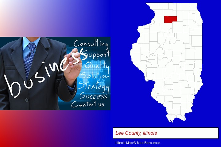 typical business services and concepts; Lee County, Illinois highlighted in red on a map