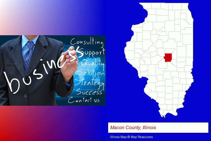 typical business services and concepts; Macon County, Illinois highlighted in red on a map