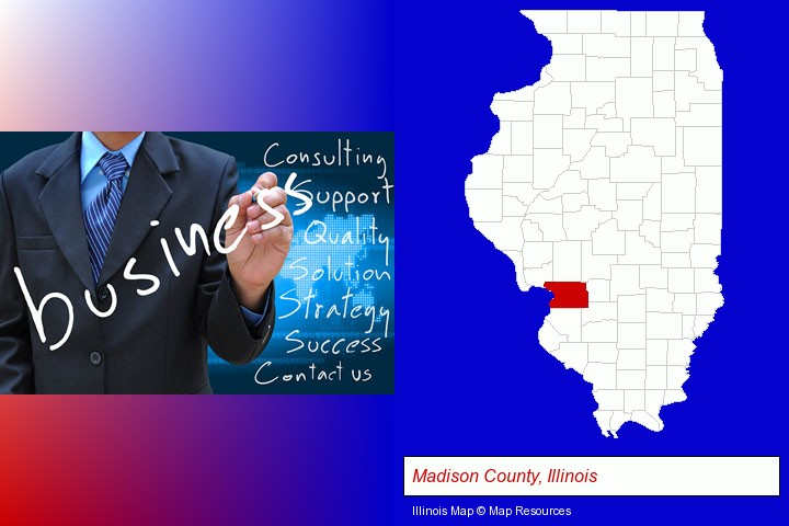 typical business services and concepts; Madison County, Illinois highlighted in red on a map