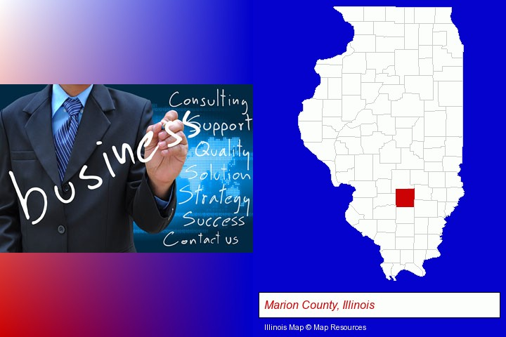 typical business services and concepts; Marion County, Illinois highlighted in red on a map