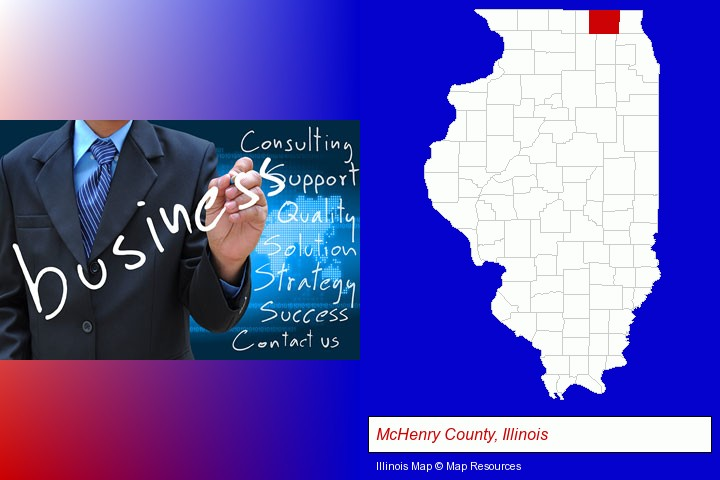 typical business services and concepts; McHenry County, Illinois highlighted in red on a map