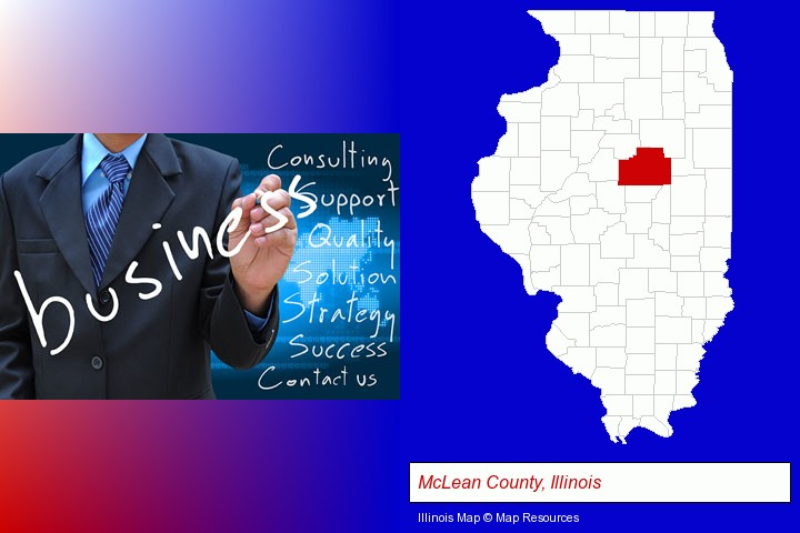 typical business services and concepts; McLean County, Illinois highlighted in red on a map