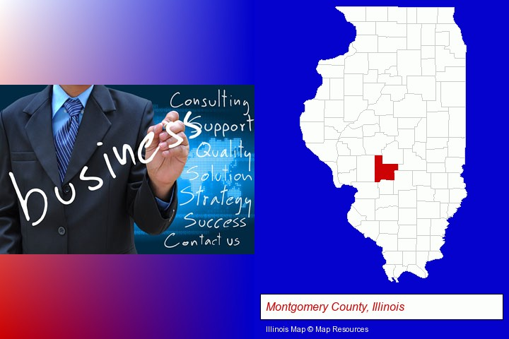 typical business services and concepts; Montgomery County, Illinois highlighted in red on a map