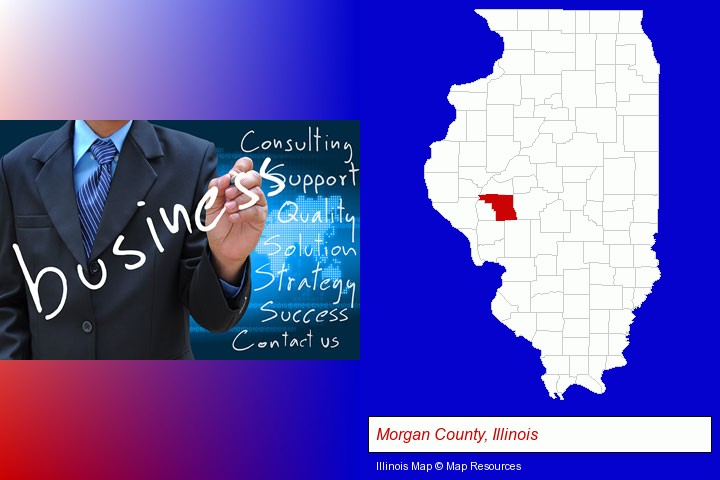 typical business services and concepts; Morgan County, Illinois highlighted in red on a map