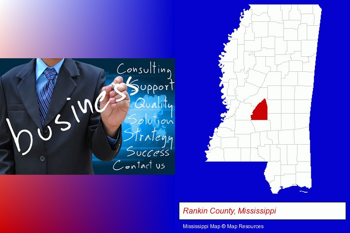 typical business services and concepts; Rankin County, Mississippi highlighted in red on a map