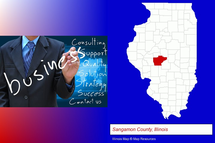 typical business services and concepts; Sangamon County, Illinois highlighted in red on a map