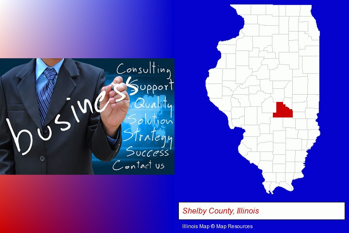 typical business services and concepts; Shelby County, Illinois highlighted in red on a map