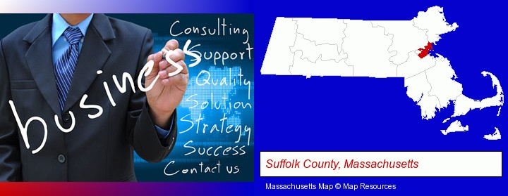 typical business services and concepts; Suffolk County, Massachusetts highlighted in red on a map