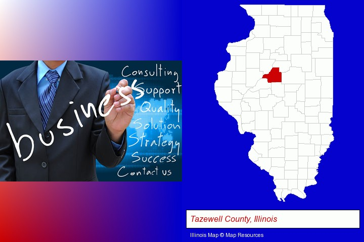 typical business services and concepts; Tazewell County, Illinois highlighted in red on a map