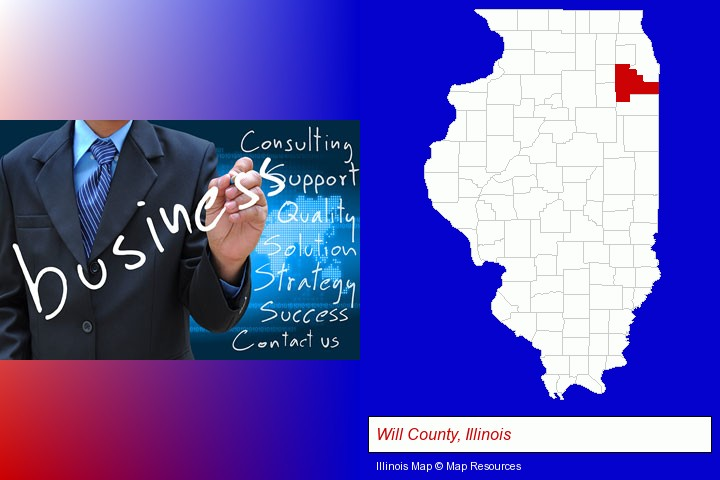 typical business services and concepts; Will County, Illinois highlighted in red on a map