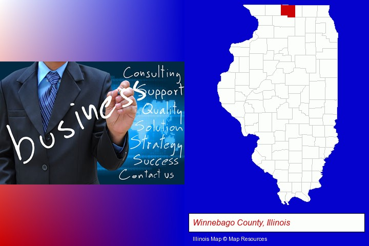 typical business services and concepts; Winnebago County, Illinois highlighted in red on a map