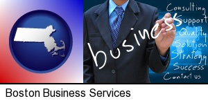 typical business services and concepts in Boston, MA