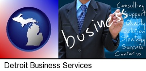 Detroit, Michigan - typical business services and concepts