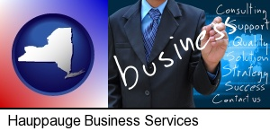 typical business services and concepts in Hauppauge, NY