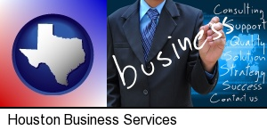 typical business services and concepts in Houston, TX
