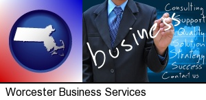 Worcester, Massachusetts - typical business services and concepts